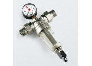 """Фильтр промывной с манометром, с разъемными соединениями,пластиковой колбой TIEMME 1""""1/4"""