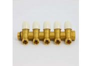 Коллектор НВ 3/4' с вентилями с утолщенными стенками TIEMME 5 выходов 1/2'Н 36мм