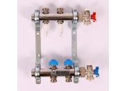 """Коллекторная группа из нержавеющей стали с термостатическими вентилями и расходомерами REHAU 1""""x3/4"""" 2 выхода"""