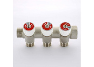 Коллектор НВ 3/4' с вентилями никелированный UNI-FITT 3 выхода 1/2'Н 40мм