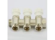 Коллектор НВ 1' с вентилями никелированный ITAP 3 выхода 1/2'Н 38мм