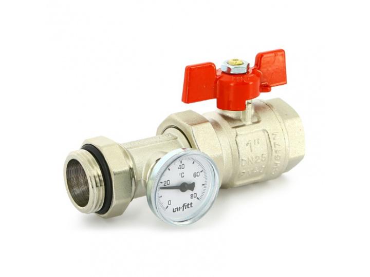Кран шаровой НВ полнопроходной бабочка Uni-Fitt с разъемным соединением, термометром для коллекторных групп