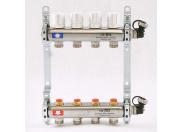 """Коллекторная группа 1""""x3/4"""" с регулировочными и термостатическими вентилями UNI-FITT ЕК 4 выхода (нерж сталь)"""