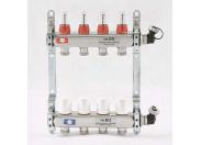 """Коллекторная группа 1""""x3/4"""" 4 выхода с термостатическими вентилями и расходомерами UNI-FITT ЕК (нерж сталь)"""