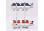 """Коллекторная группа с регулировочными и термостатическими вентилями UNI-FITT 1""""x3/4""""ЕК 4 выхода"""