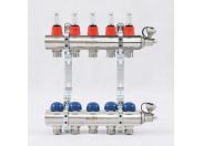 """Коллекторная группа с термостатическими вентилями и расходомерами UNI-FITT 1""""x3/4""""ЕК 5 выходов"""