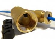 """Тройник Speroni Ду25 1"""" НР/ВР с проходкой для греющего кабеля латунный (AG25)"""