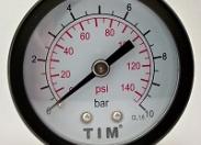 """Манометр аксиальный TIM 0-10 бар Ø50мм (металлический корпус+стекло, присоед. латунь 1/4"""" нар.)"""