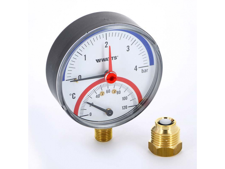 Термоманометр радиальный F+R828 WATTS 40м вод.ст 120 град.C