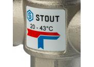 STOUT  Термостатический смесительный клапан для систем отопления и ГВС. G 1/4 НР    20-43°С KV 2,5