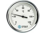 """STOUT  Термометр биметаллический с погружной гильзой. Корпус Dn 80 мм, гильза 75 мм 1/2"""""""