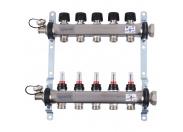 Uponor Smart S коллектор с расходомерами стальной, ВЫХОДЫ 5X3/4 ЕВРОКОНУС