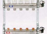 """Коллекторная группа из нержавеющей стали с регулировочными и термостатическими вентилями UNI-FITT 1""""x3/4""""ЕК 5 выходов"""