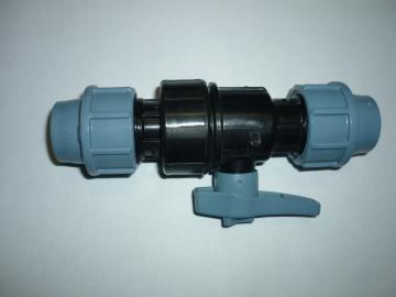 ПНД Кран шаровый компрессионный Unidelta 20x20 для труб  полипропилен PP-B