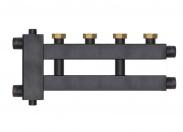 Коллектор отопления с гидроразделителем Warme WKD.R.85.F (Дублер рядный с гидроразделителем и накидными гайками) на 2+1 контура потребителей (до 85 кВт)