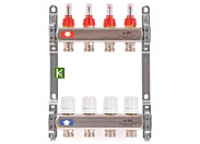 """Коллекторная группа 1"""" Uni-Fitt 450Bнерж. сталь 9 выходов 3/4"""" с расходомерами и термостатическими вентилями без концевиков"""