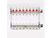 """Коллекторная группа 1"""" Uni-Fitt 450A нерж. сталь 10 выходов 3/4"""" с расходомерами и термостатическими вентилями с авт.воздухоотводчиком"""